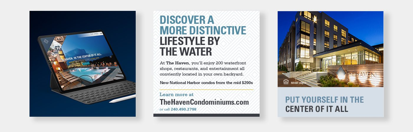 3 images of the Haven website, ad, and building