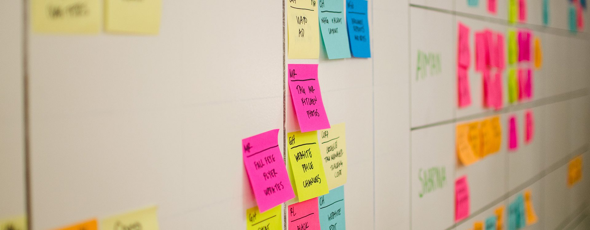 Post it notes on white board for Lighting Chat