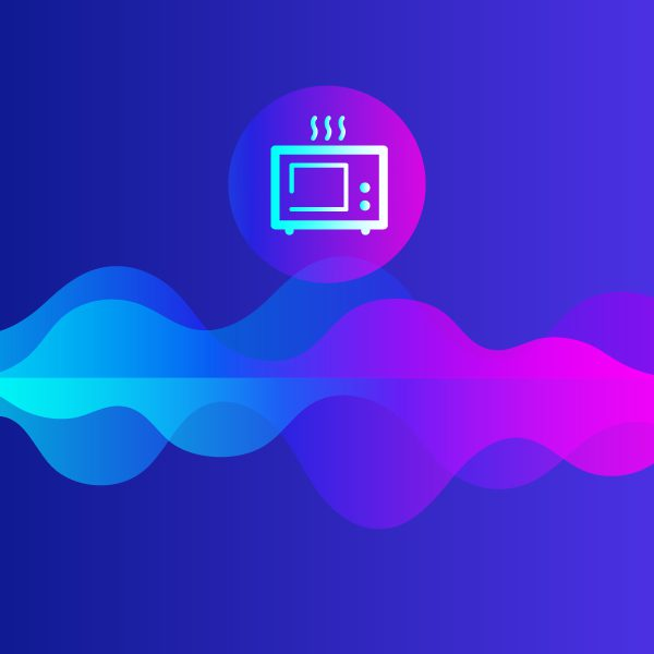 Microwave Illustration in purple and blue colors