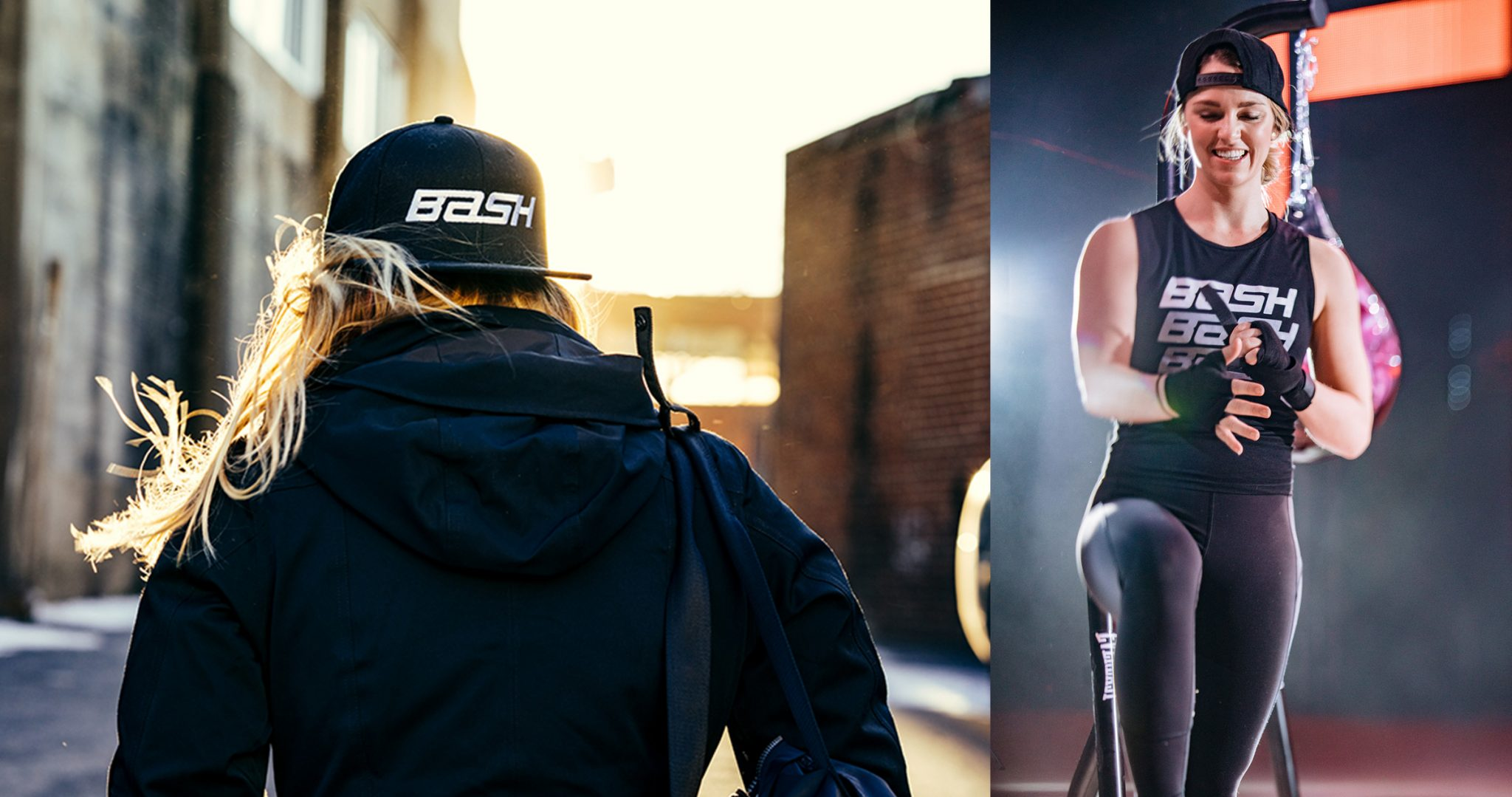 2 images of blonde woman wearing BASH boxing apparel
