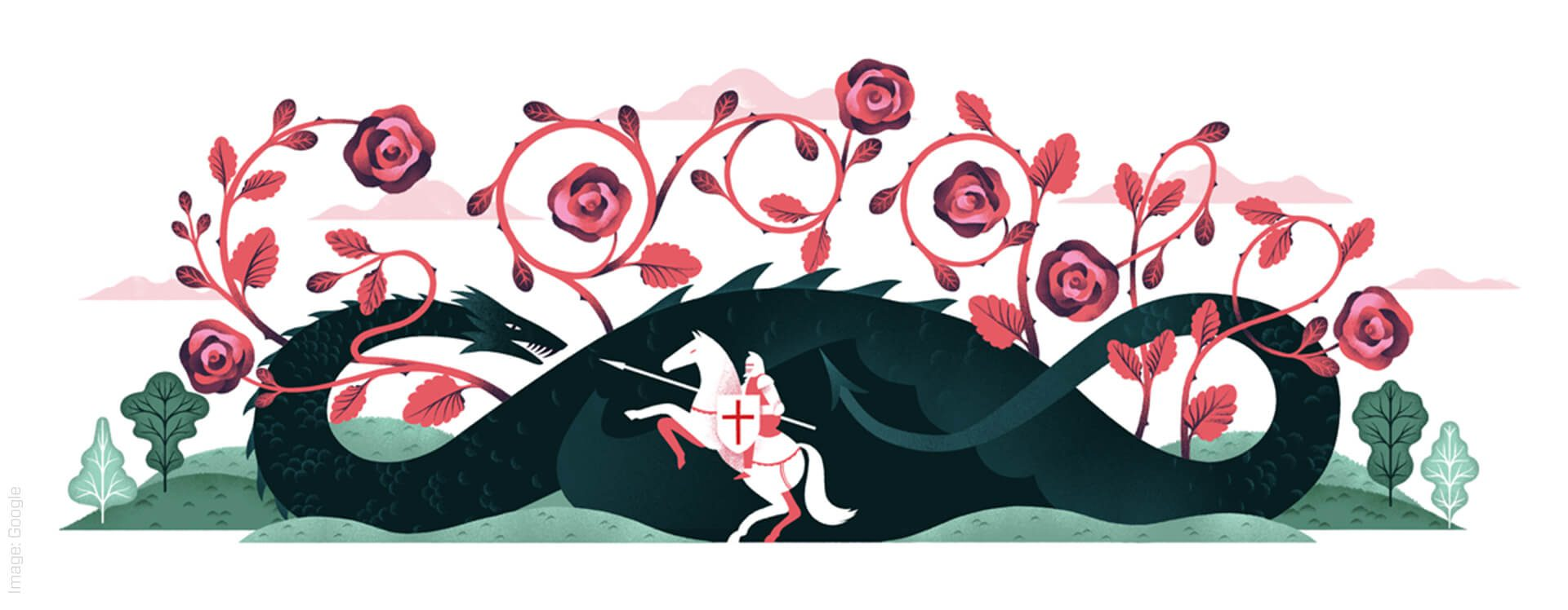 Illustration of a knight fighting a dragon with roses coming out of the dragon