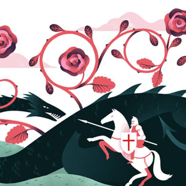 Header image of pink and red roses, a green dragon and knight on the Living logo webpage