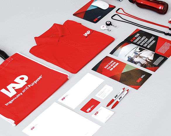 Visual identity system elements for IAP, a client in the government contracting market.