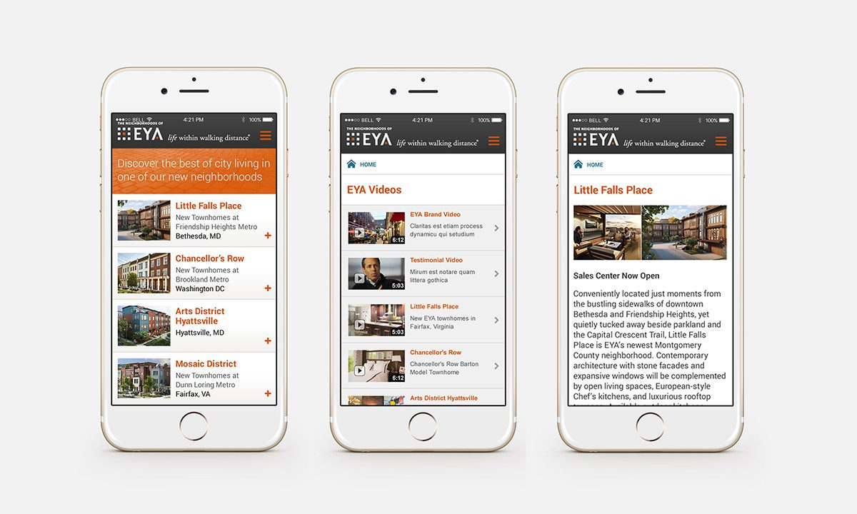 EYA's new responsive design with the new visual identity elements.