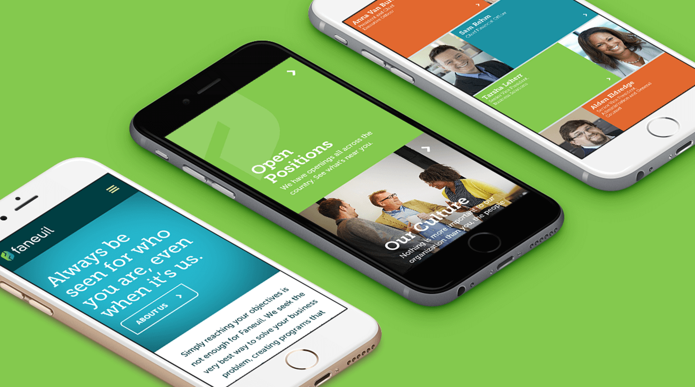 Faneuil new website mobile design using the new visual identity created by a top branding agency in Washington DC.