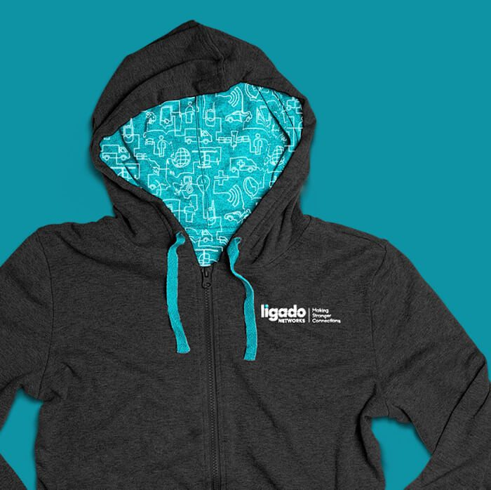 Case study example of brand identity work for Ligado which included the design of this hoodie for employees.
