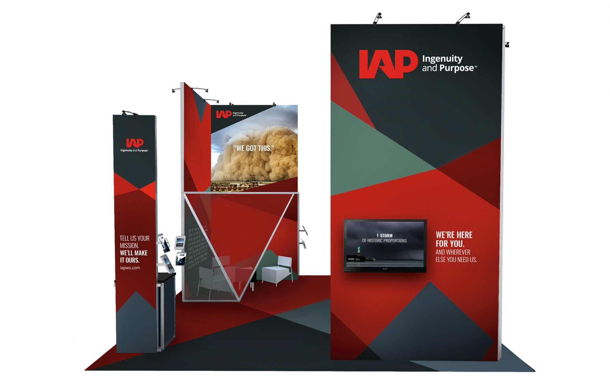 Display advertisement at a tradeshow booth for IAP's brand launch featuring top quality brand identity.