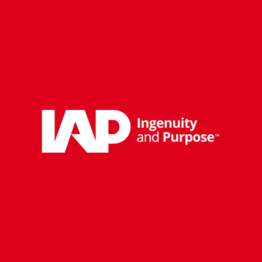 The rebrand of IAP featuring new typography focused logo.