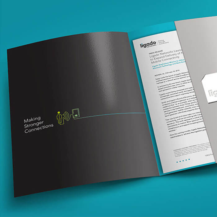Brand marketing collateral for Ligado's rebranding efforts executed by top digital agency Grafik.