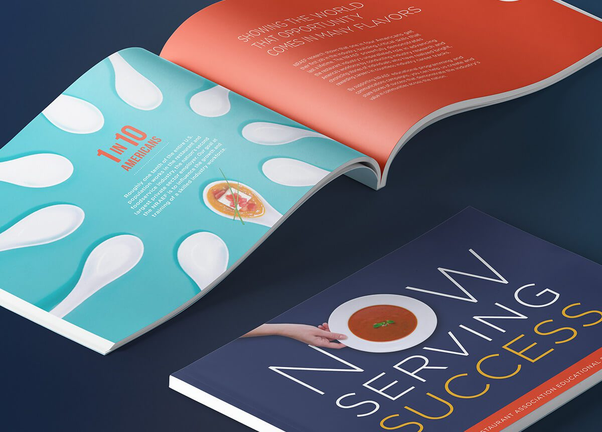 NRAF's new collateral brochure design using strong custom infographic photography.