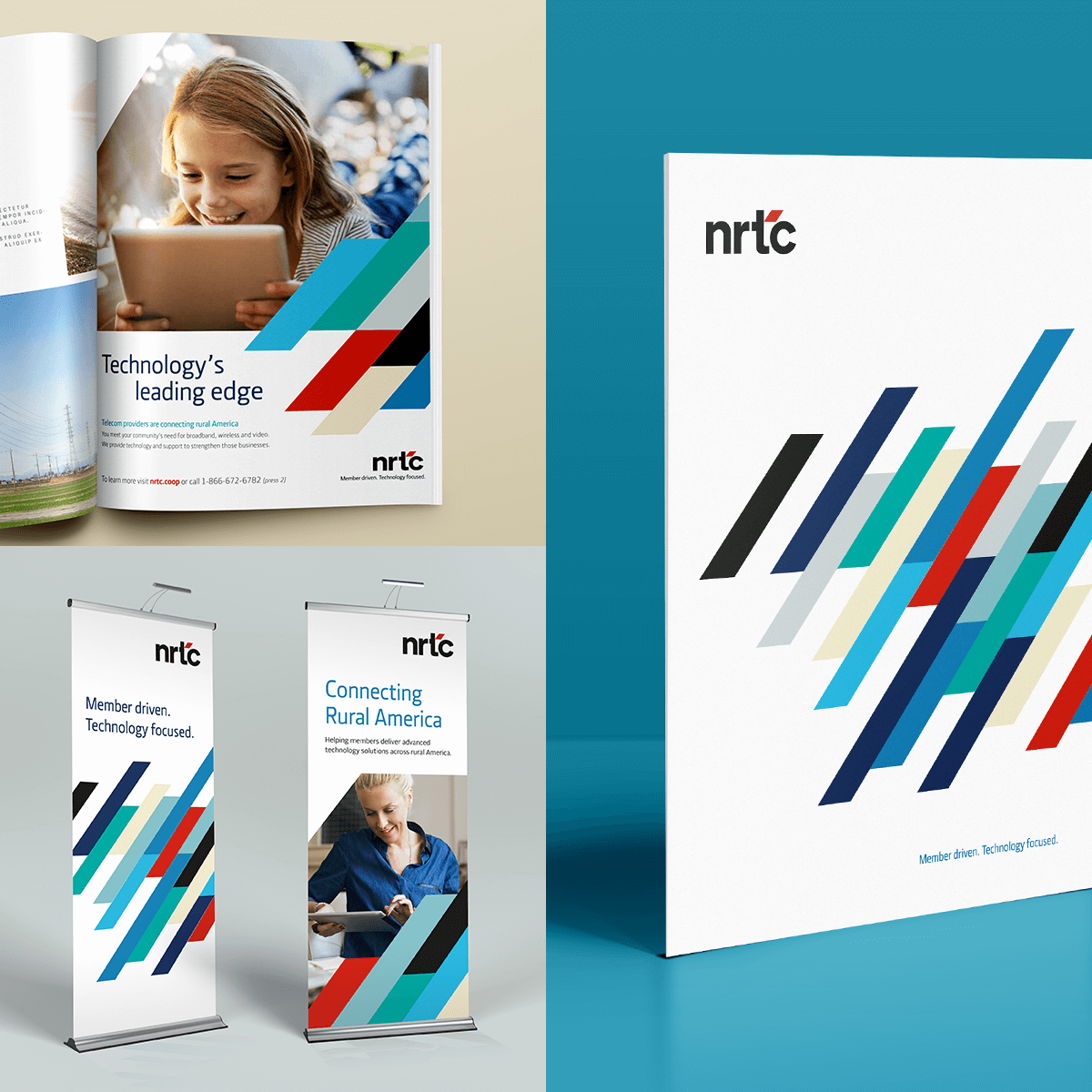 NRTC brand collateral materials including magazine, brochure and tradeshow booth banners.