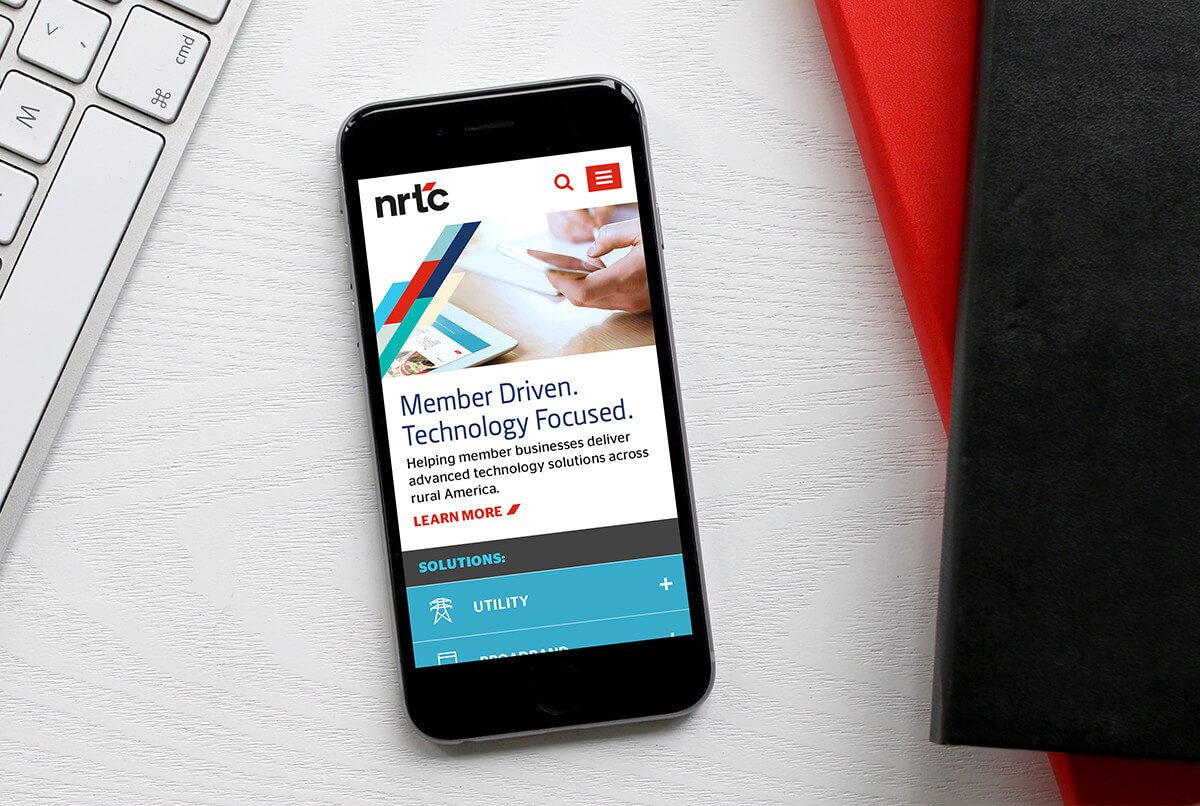 NRTC responsive website redesign shown in mobile layout.