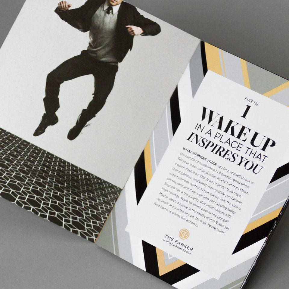 The Parker brochure as part of Bozzuto's latest apartment collateral for their new brand identity roll-out.