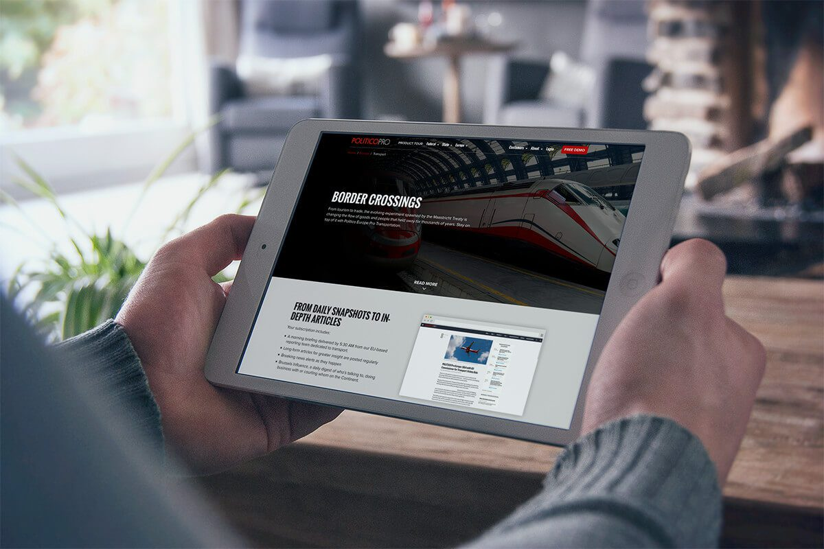 iPad rendering of the website redesign project for Politico Pro which included a responsive mobile and tablet interface.