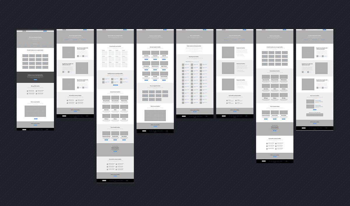 Wireframes of the new Politico Pro website for a case study demonstrating responsive web design
