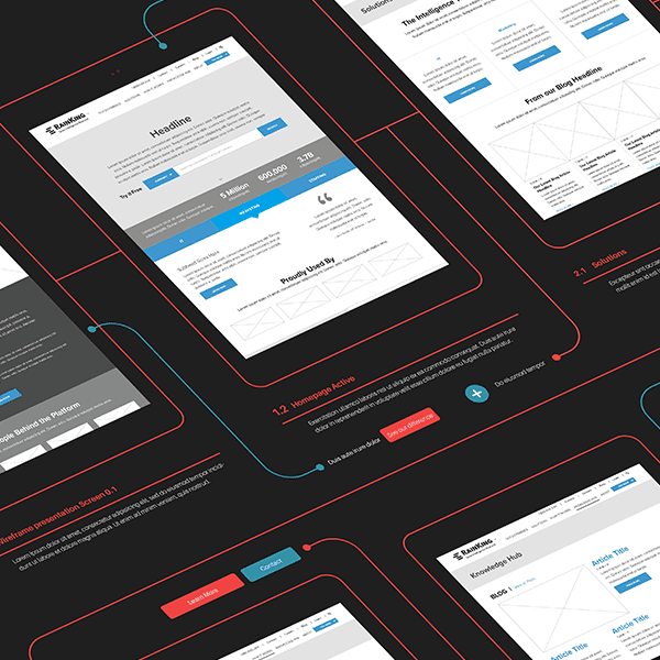 Case study wireframes for RainKing's rebranding efforts executed by a top digital agency, Grafik.