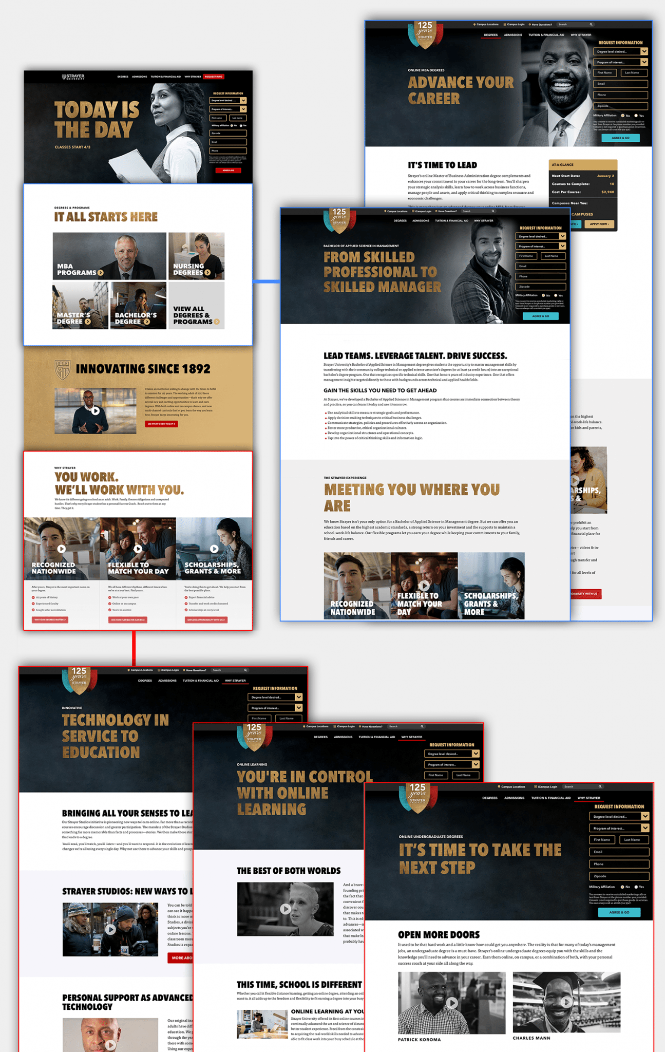 different Strayer web pages