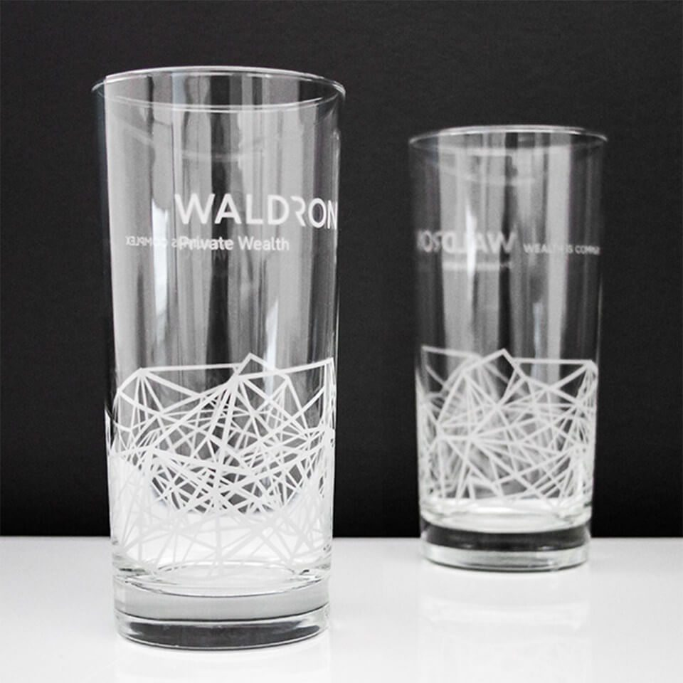 Photography of Waldron glasses as part of their successful rebranding efforts executed by top marketing agency, Grafik.