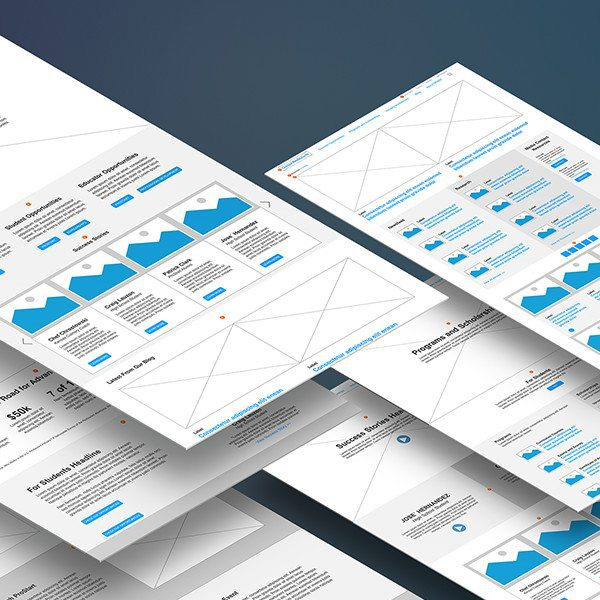 Responsive web design wireframes for the new brand refresh.