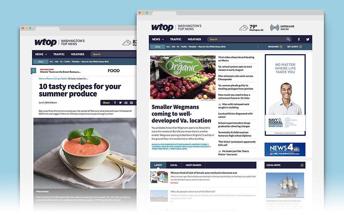 WTOP new web design featuring latest photography from breaking news stories.
