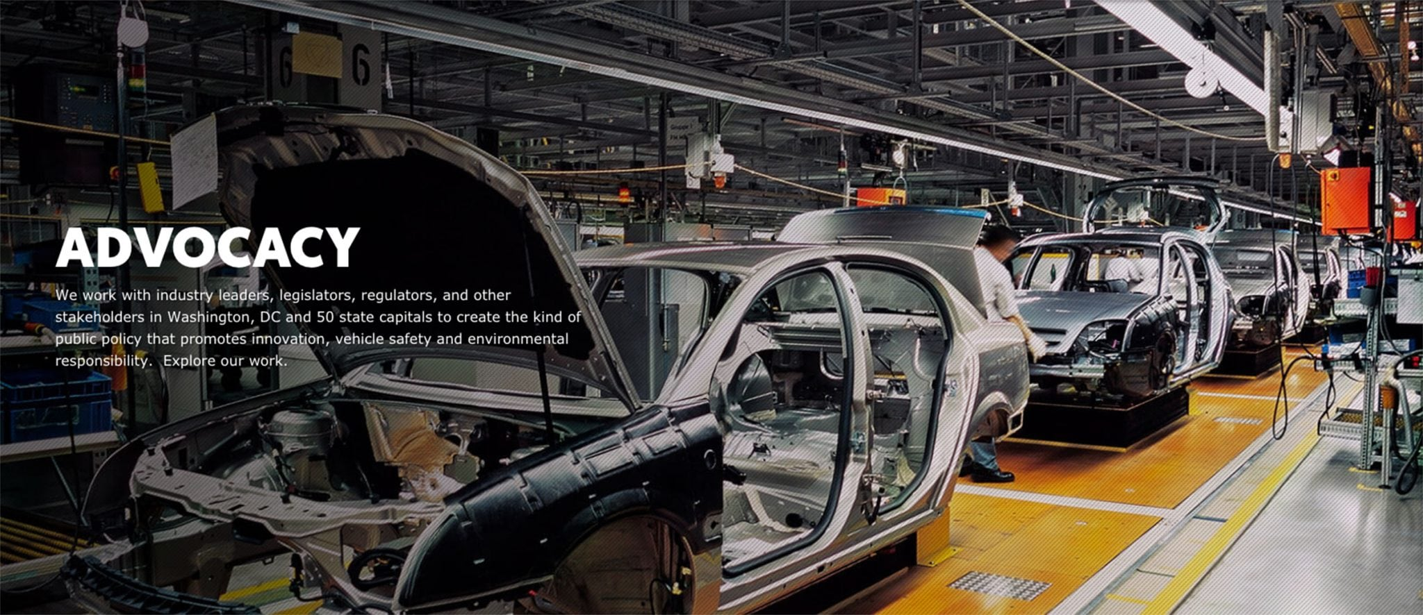 A webpage displaying Global Automakers advocacy