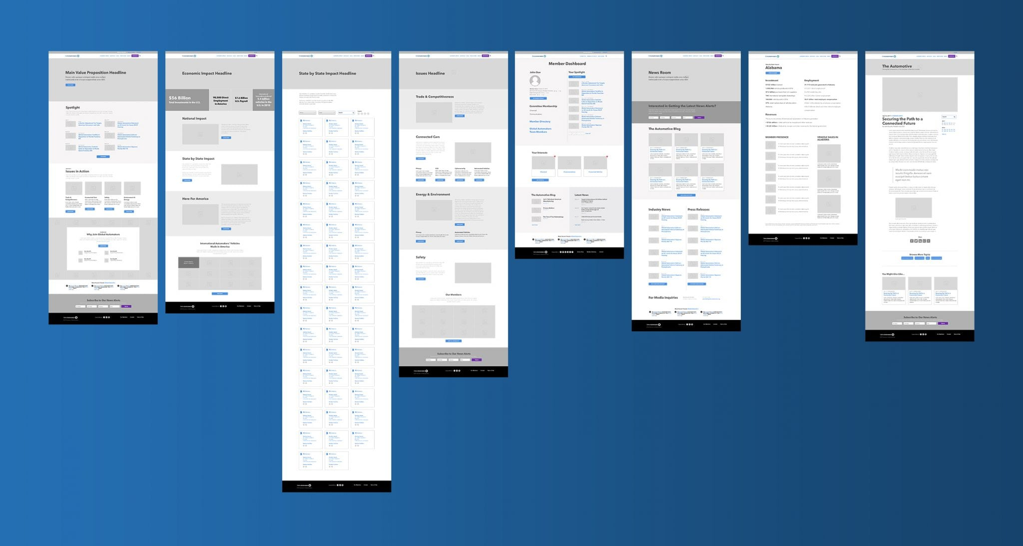Different set of wireframes