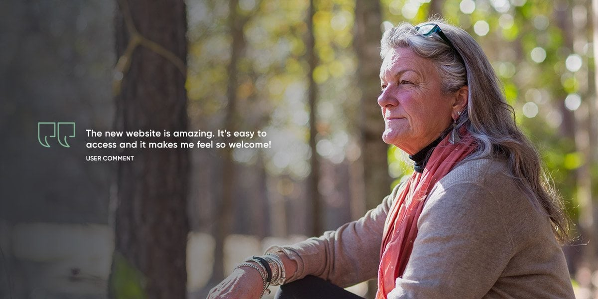 Image of lifestyle woman and quote, customer testify webpage for Good Days website