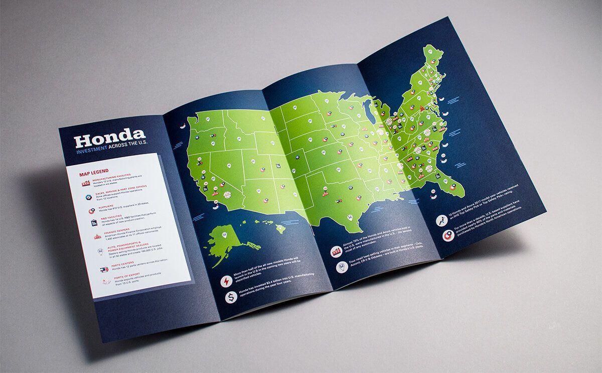 Honda Investment activities in the US map