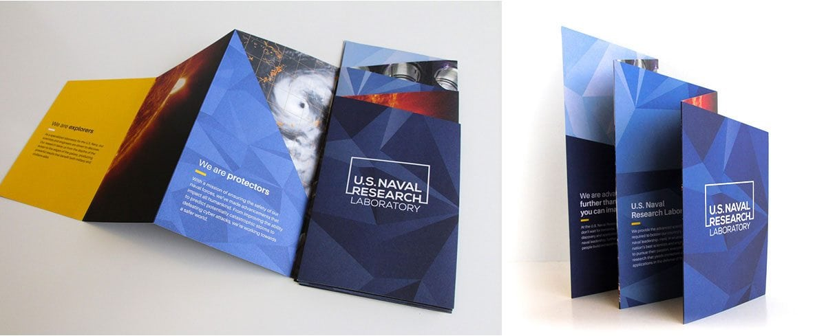 U.S Naval Research Laboratory brochure in two different angle