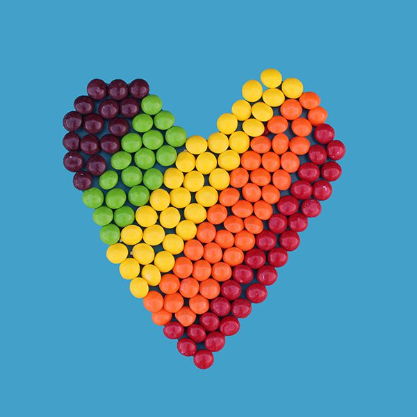Rainbow heart made from candy
