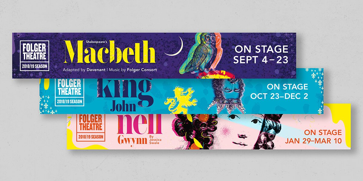 3 ads banner promoting shows at Folger Theatre