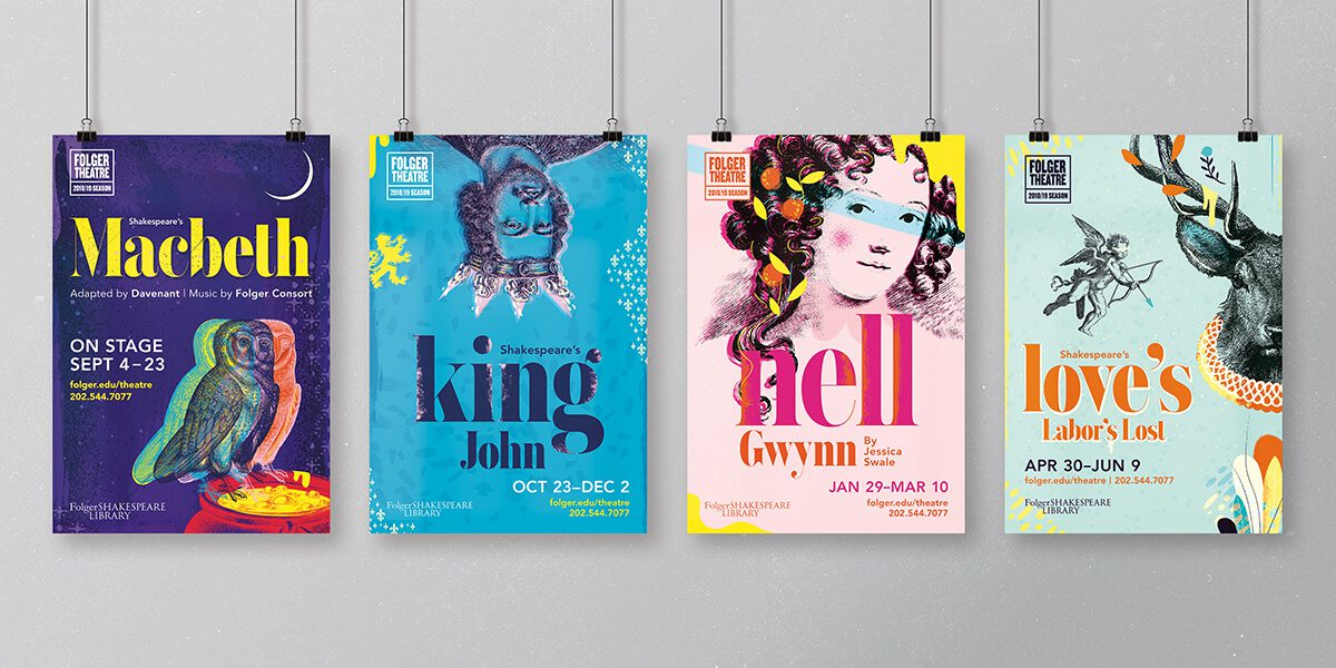 Various posters for the Folger Theatre events